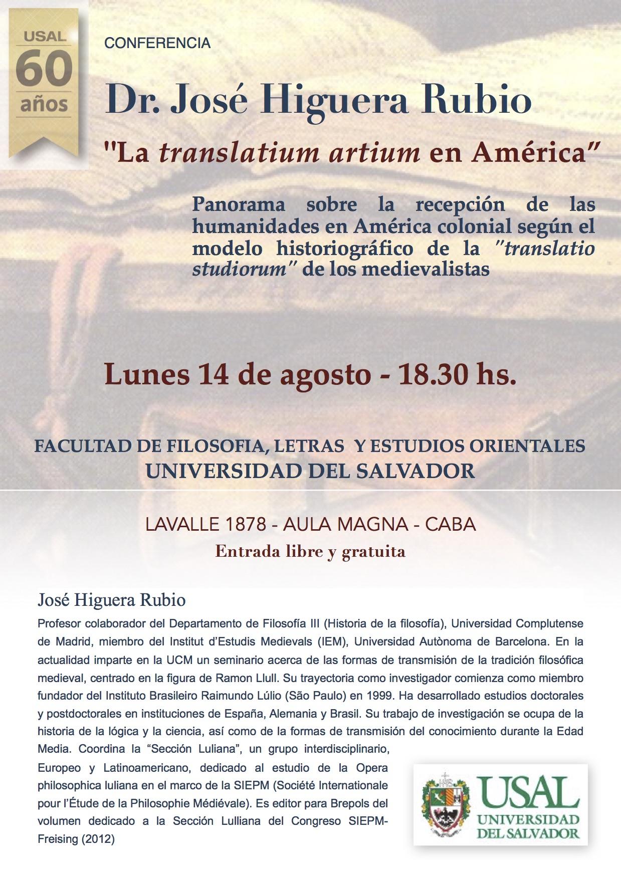 Conferencia Dr. José Higuera Rubio