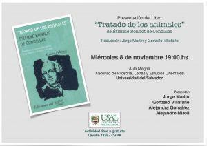 """Presentación del Libro """"Tratado de los animales"""" de Étienne B. de Condillac"""
