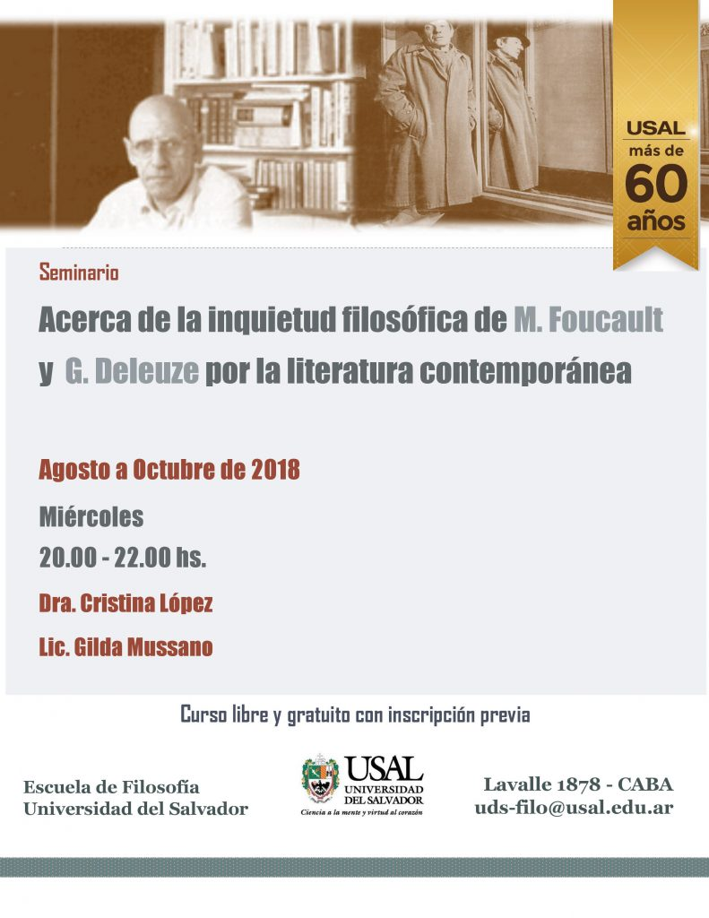 """Seminario: """"Acerca de la inquietud filosófica de M. Foucault y G. Deleuze por la literatura contemporánea"""""""